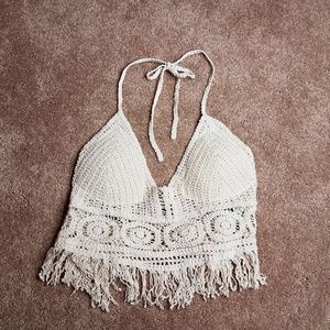 Zaful Crocheted cream colored halter top